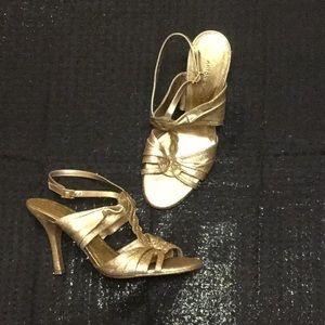 Shimmering Gold T Strap Heels
